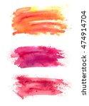 set of abstract watercolor... | Shutterstock . vector #474914704