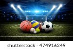 all sports balls in stadium 3d | Shutterstock . vector #474916249