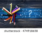 question marks painted and... | Shutterstock . vector #474918658