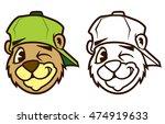 cool brown cartoon hip hop bear ...   Shutterstock .eps vector #474919633