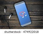 love music on phone screen and... | Shutterstock . vector #474922018
