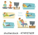 home leisure. couple watching... | Shutterstock .eps vector #474937609