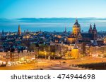 Stock photo amsterdam skyline in historical area at night amsterdam netherlands ariel view of amsterdam 474944698