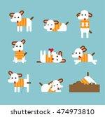cute dog play vector flat... | Shutterstock .eps vector #474973810
