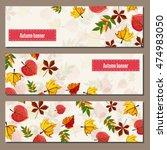 autumn leaves fall on banner... | Shutterstock .eps vector #474983050