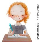 Watercolor School Cute Girl