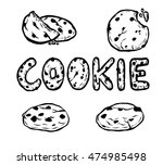 chocolate chips cookie vector... | Shutterstock .eps vector #474985498