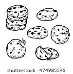 chocolate chips cookie vector... | Shutterstock .eps vector #474985543