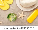 summer refreshing cocktail on... | Shutterstock . vector #474999310