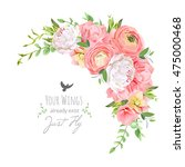 delicate floral vector frame... | Shutterstock .eps vector #475000468