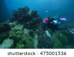 divers and coral reef... | Shutterstock . vector #475001536