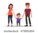 happy young family. father ... | Shutterstock .eps vector #475001854