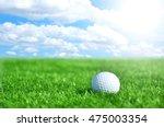 golf ball on artificial grass... | Shutterstock . vector #475003354