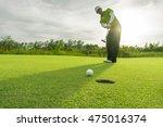 golfer short putting golf ball... | Shutterstock . vector #475016374