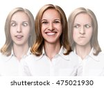 young woman makes fun faces | Shutterstock . vector #475021930
