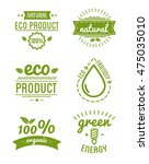 set of organic food labels and... | Shutterstock .eps vector #475035010
