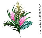 Stock vector vector bouquet with tropical flowers retro hawaiian style floral arrangement with beautiful 475035046