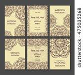 vintage invitation cards set...   Shutterstock .eps vector #475035268