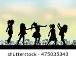 happy children play outside. | Shutterstock .eps vector #475035343