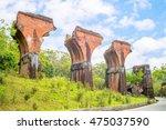 ruins of long teng bridge ... | Shutterstock . vector #475037590