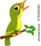 cute green bird cartoon singing | Shutterstock .eps vector #475040560