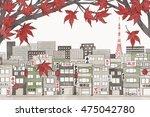 tokyo  japan in autumn   hand...   Shutterstock .eps vector #475042780