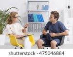 professional psychotherapist...   Shutterstock . vector #475046884