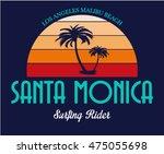 surf summer santa monica... | Shutterstock .eps vector #475055698