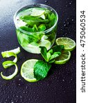 Green Limes With Mint And Wate...