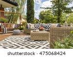 new design villa patio with... | Shutterstock . vector #475068424