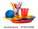 plastic tableware on a white... | Shutterstock . vector #475076980