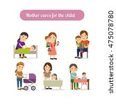 mother cares for the child... | Shutterstock .eps vector #475078780