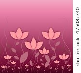Pink Flowers Background Vector...