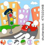 cartoon red car and traffic... | Shutterstock .eps vector #475101448