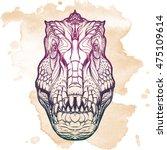 tyrannosaurus head with t rex...   Shutterstock .eps vector #475109614