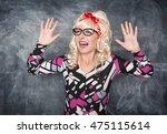 crazy screaming retro woman on... | Shutterstock . vector #475115614