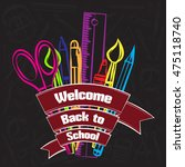 drawing colored school supplies.... | Shutterstock .eps vector #475118740