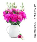 bright pink peony and eustoma... | Shutterstock . vector #475124719
