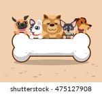 Cartoon Dogs With Big Bone Sign