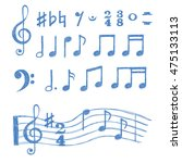 music notes set. collection of... | Shutterstock . vector #475133113