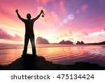 winner concept  silhouette... | Shutterstock . vector #475134424