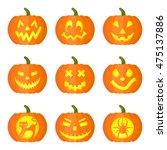 set of funny halloween pumpkins ...   Shutterstock .eps vector #475137886