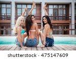 group of three happy beautiful... | Shutterstock . vector #475147609