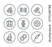 genetics line icons in circles  ... | Shutterstock .eps vector #475148788
