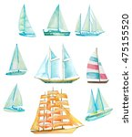 Set Of Watercolor Sailing Boat...