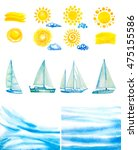 set of watercolor sun clouds... | Shutterstock . vector #475155586