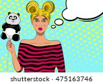 pretty pop art girl with... | Shutterstock .eps vector #475163746