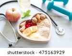 healthy food in heart and water ... | Shutterstock . vector #475163929