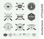 set of vintage rafting logo ... | Shutterstock .eps vector #475166200
