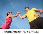 fit sport running couple... | Shutterstock . vector #475174033